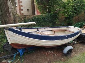 Vintage Wooden Clinker Sailing Dinghy & Road Trailer