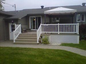 rampe de patio en pvc blanc