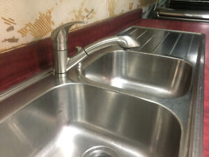 """Faucet- with double sink (33"""" base) and dish drainer, 20"""" long"""