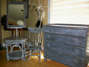 Solid wood antique dresser & matching mirror London Ontario image 4