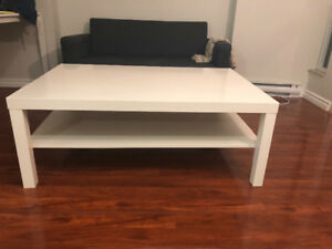 Ikea Solsta Sofa Bed and white coffee table