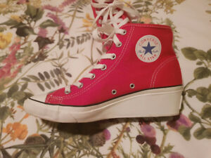 """Converse Red and White Sneakers with 1"""" heel  Harley Quinn Esq"""