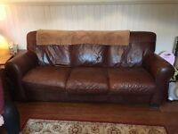 Antique leather brown 3 seater sofa