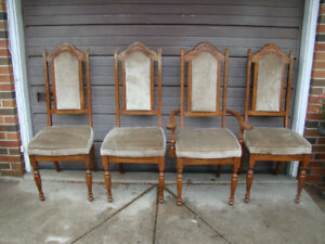 Set of Four Vintage Solid Oak Chairs
