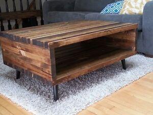 table de salon,table à cafébois rustique etpartiellement recyclé