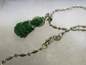 18kt. Solid White Gold Necklace with Jade Buddha pendant