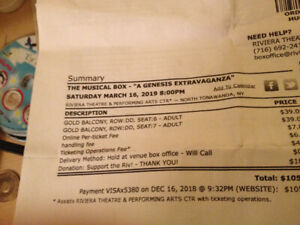 Genesis (The Musical Box) 2 Tickets Sat.  March 16, 2019