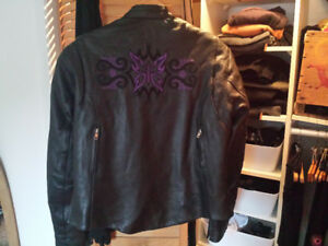 Leather motorcycle jacket for women - Size XL