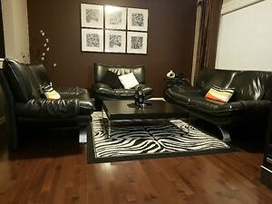 A four piece set: sofa, loveseat, chair and coffee table