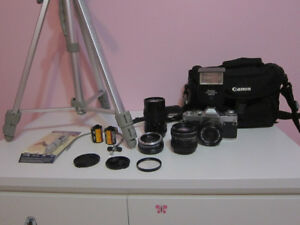 Canon AV-1 Film Camera 3 Lenses, Flash, Bag, Film, Tripod