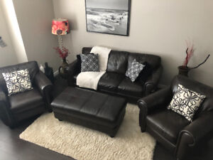 Real Leather Couch w/ Ottoman and Side Chairs