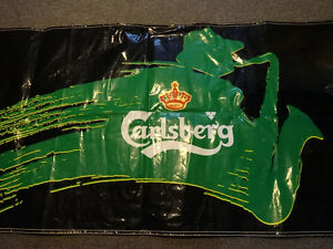 Carlsberg banner and two oblong coasters