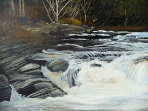 "Kawartha Waterfall by Debi Fitzgerald ""White Water Rapids"" 1980 Stratford Kitchener Area image 10"