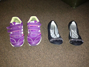 Girls Addidas sneakers or Justice black shoes size 3, 5$ each