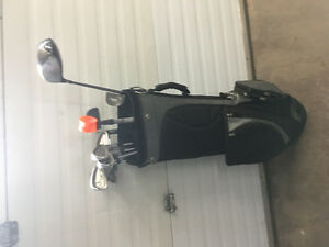 Right hand golf clubs and bag