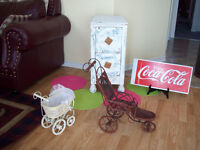 ANTIQUE  CABINET, DOLL CARRIAGE + COCA SIGN