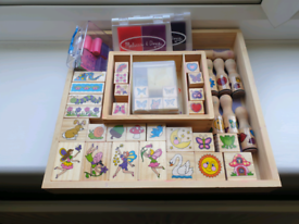 Childrens art and craft wooden stamp set