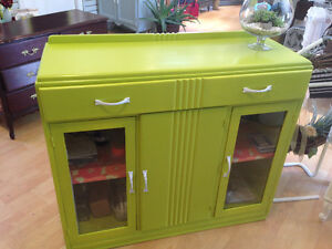 Retro Glass front cabinet with 3 doors and a drawer