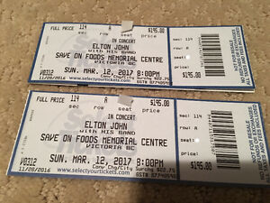 Pair of Elton John tickets for Sunday, March 12 in Victoria