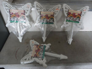 Lot of 4 packs of white butterfly lawn ornament garden decor NEW