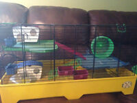Multi Level Hamster Cage with Houses, Beds, Wheels, Food dishes