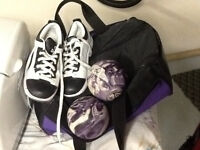 Bowling balls (4), shoes size 6 ladies