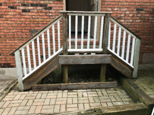 Repairs to wood fence gate, outside wooden steps, shed floor