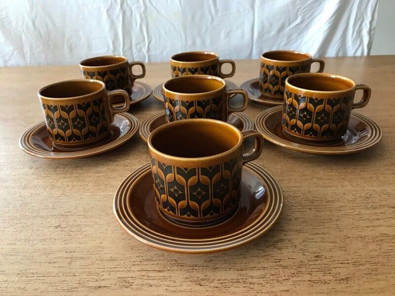 Hornsea Heirloom Brown Pottery Cups and Sauce