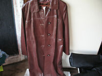 Ladies Long Leather Coat for sale - Med Brown - Sz 14 Now $40