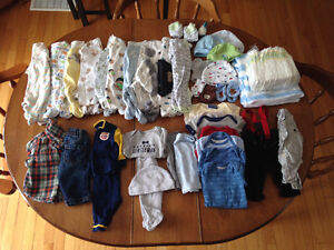 Lot of clothes (stain free, Lot of newborn boy clothes & diapers