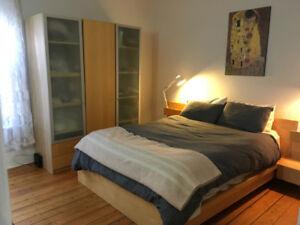 Ikea Queen Bedroom set - bedframe, wardrobe, 2 nightstands