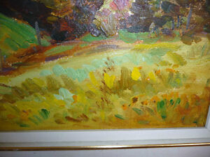 "Peter Stoyan (Stoyanoff) ""Sunlit Fields"" 1951 Original Oil Paint Stratford Kitchener Area image 4"
