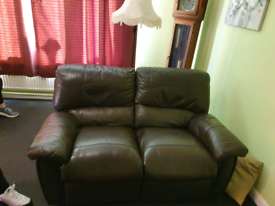2 x brown leather 2 seater reclining sofas