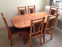 Solid pine extending dining table (6 - 8 seating)