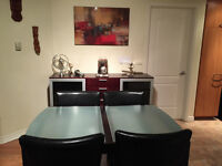 Modern Dinning Set and Buffet 4 chairs and extendable table