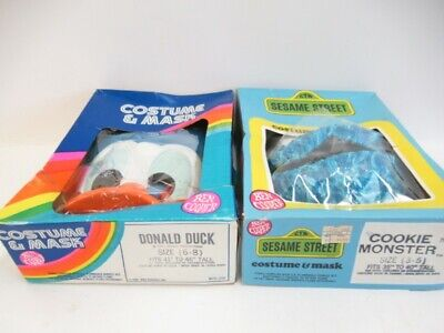 DONALD DUCK AND COOKIE MONSTER COSTUMES WITH BOXES 1980's - VINTAGE