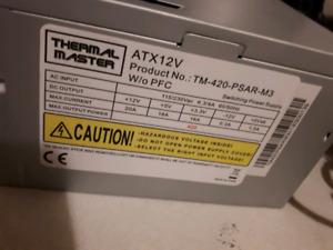 420 wat thermal master pc case psu $15