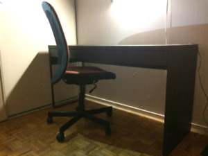 IKEA BLACK DESK AND COMPUTER CHAIR