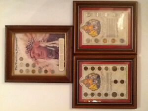 The Vanishing American, Canadian Penny & Nickel Coin Framed Sets