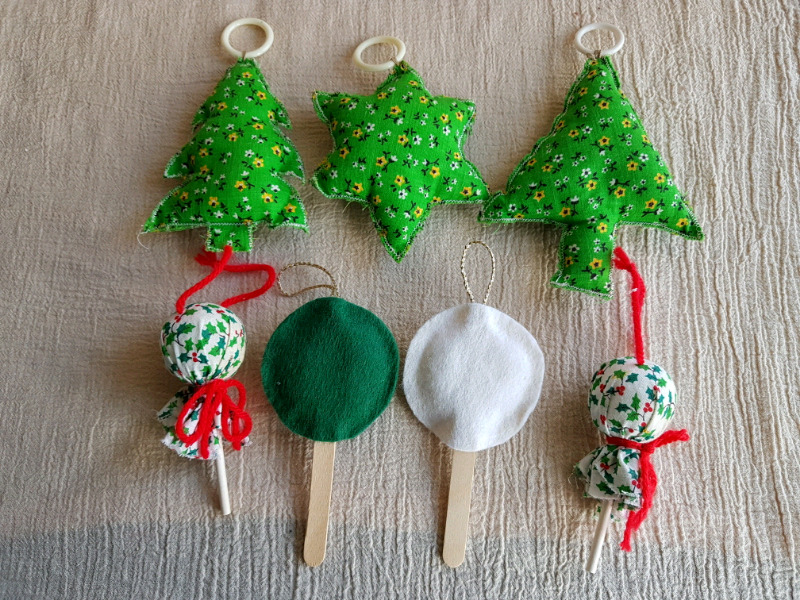 Quilted Christmas Ornaments.Vintage Handmade Quilted Christmas Ornaments