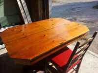 Antique wooden dining table and 4 chairs