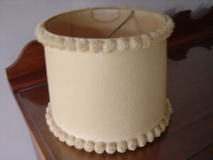 VINTAGE LAMP SHADE WITH POM POMS BEIGE - SHADE ONLY CLIP ON STYL