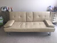 Faux leather fold down sofa bed with pull down table
