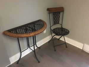 Two Wicker Tables and Chair
