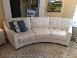 White Leather sofa, curved back