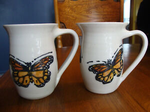 TWO HAND-THROWN SIGNED POTTERY MUGS W MONARCH BUTTERFLY THEME