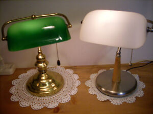 GREEN and WHITE GLASS SHADE BANKERS LAMPS,  A - 1!