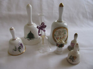 Vintage Collectible Bells 2 Christmas 1 Figural Signed 8 Lot Mix
