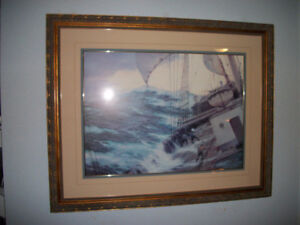 Ship Painting Matted and Framed