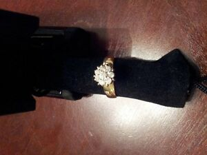 Diamond Starburst Ring Sz 6